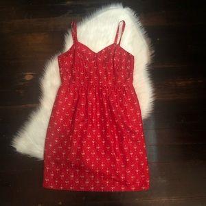 j.crew 100% silk red dress empire waist size 10